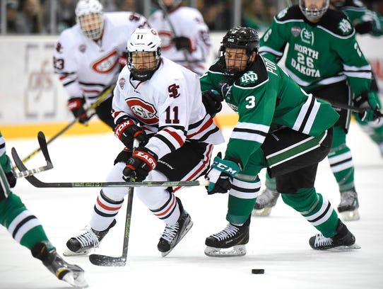 St. Cloud State's Kalle Kossila and Tucker Poolman