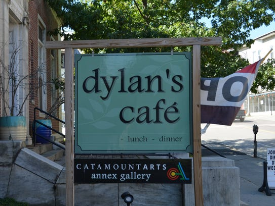 Outside Dylan's Cafe in St. Johnsbury.