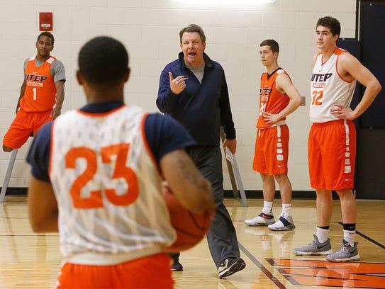 UTEP head basketball coach Tim Floyd put his team through