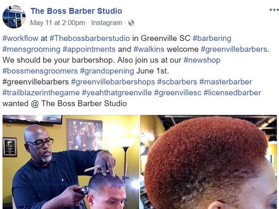Greenville barber Al Reid, owner of Boss Barber Studio,