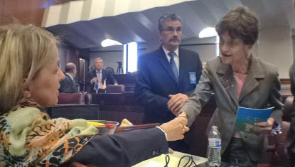 Former Nevada State Sen. Sue Wagner, right, is congratulated by Sen. Barbara Cegavske, R-Las Vegas after Wagner's induction last year into the Nevada Senate Hall of Fame.