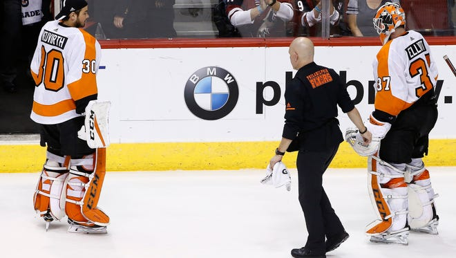 Brian Elliott had to leave Saturday night's win in the middle of the shootout.