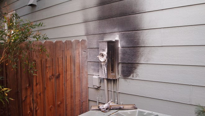 A burned up smart meter on a home in Reno.