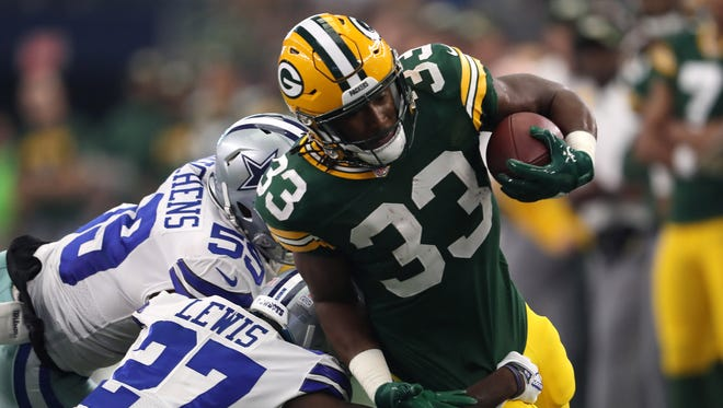 Packers running back Aaron Jones ran for 125 yards and a touchdown on 19 carries vs. Dallas in Week 5.