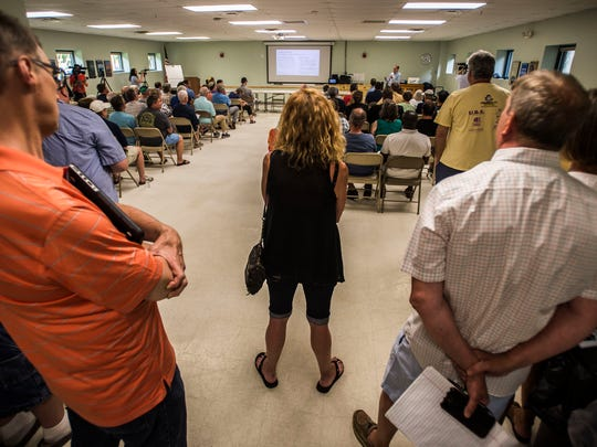 New North End residents pack a meeting Thursday night held by the Burlington Department of Public Works unveiling the results of its surveys and data collection on the North Avenue Pilot Project.