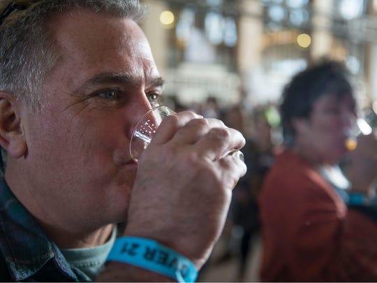 Bernard Friel of Rumson sips a beer. The Asbury Park