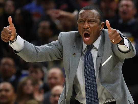 Dwane Casey of the Toronto Raptors reacts during Game