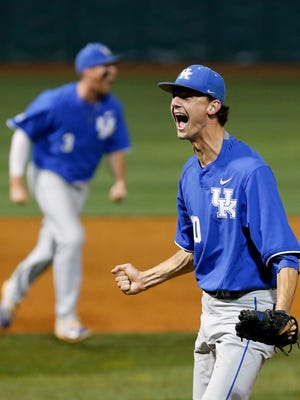Kentucky's Sean Hjelle celebrates after striking out the last batter. Cats are going to the Super Regional for the first time in the programs history. June 5, 2017