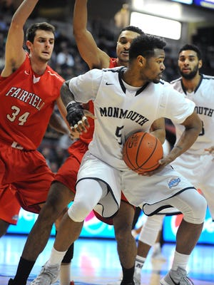 Monmouth's Deon Jones makes a move under the basket during a match against Fairfield during the MAAC semifinals at the Times Union Center on Sunday, March 6, 2016 in Albany, N.Y. (Lori Van Buren)