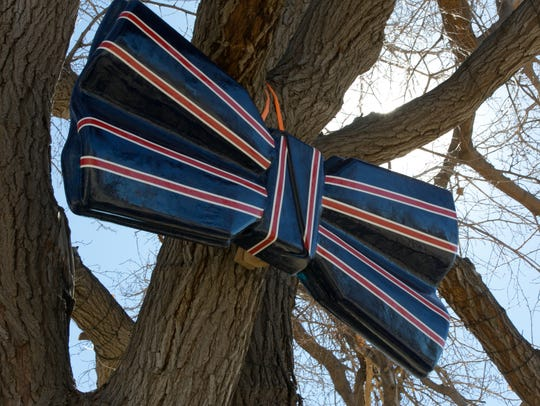 A bowtie placed in a tree at Klein Park on Tuesday,