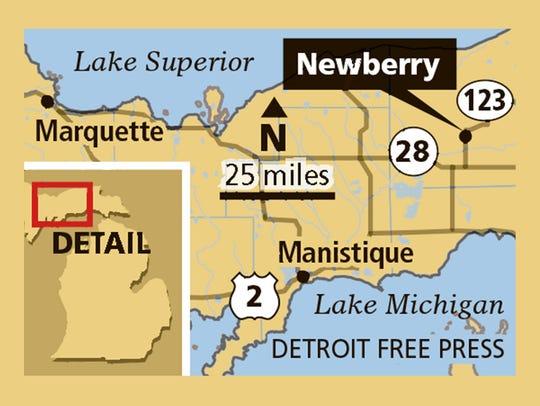 Newberry, Michigan locator map.