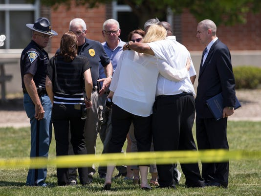 Noblesville school shooting in Noblesville, Indiana. Teach Jason seaman and student Elle Whistler were shot.