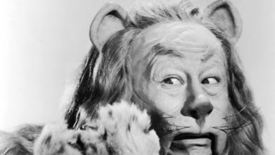 Bert Lahr as the Cowardly Lion in the 1939 'Wizard of Oz'