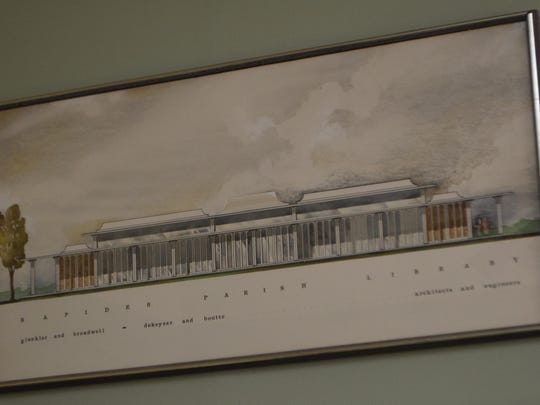 An architectural rendering from the mid-1960s of the Rapides Parish Library's Main Library in downtown Alexandria hangs in the Huie-Dellmon House. Officials are seeking to have the Main Library, which just turned 50 years old, added to the National Register of Historic Places.
