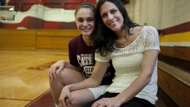 Gloucester Catholic junior forward Mary Gedaka (left) and mother/coach Lisa Gedaka. Lisa and other former G.Catholic players will be honored at pregame ceremony prior to the game vs. Gloucester on Jan. 17.