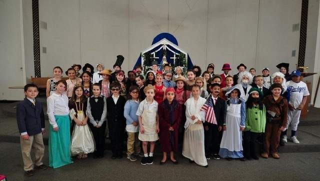Fourth Graders at St. Aloysius School in their Wax Museum costumes