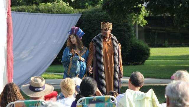 Evelyn Giovine and Anthony Holiday perform on the Great Lawn of Brookdale Community College during last year's Shakespeare on the Lawn series.