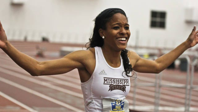 Mississippi State's Erica Bougard is in third place at the USATF championships.