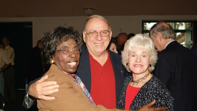Veronica Shoemaker, left, with Joe D'Alessandro, middle, and Susan Bennett