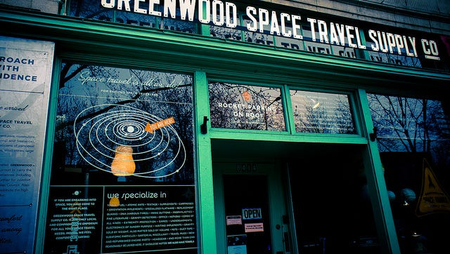 """Greenwood Space Travel Supply Co.,"""" by Los Paseos."""