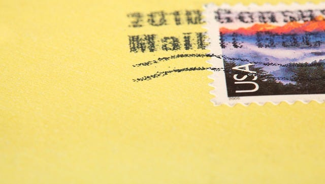"A stamp is ""canceled"" with an official black stamp to show that it has gone through the U.S. mail system."