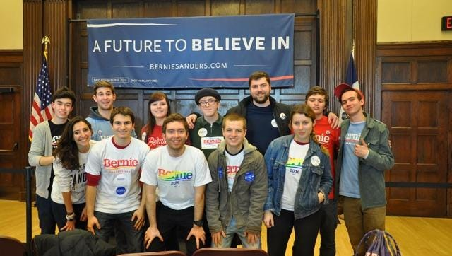 Daniel Olsson, in the first row second from the right, worked on the Bernie Sanders campaign this spring. Olsson is a graduate student at Indiana University.