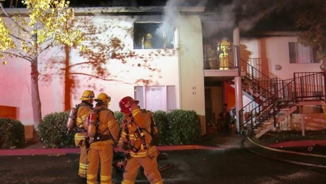 Santa Paula firefighters responded to an early morning fire Monday at a two-story apartment building.