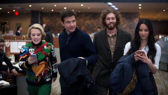 "Kate McKinnon, from left, Jason Bateman, T.J. Miller and Olivia Munn star in ""Office Christmas Party."""