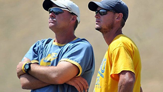 Angelo State University athletic director James Reid, left, and head track coach Tom Dibbern are pictured in a file photo.