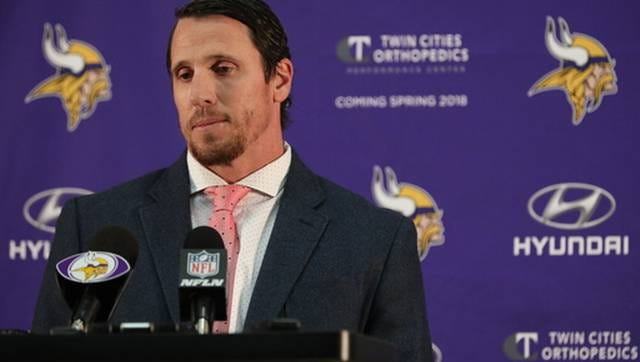 Chad Greenway announces his retirement at a press conference at the Vikings' team headquarters.
