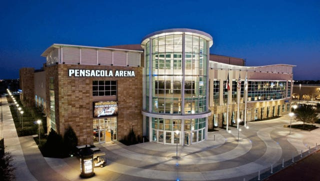 A photo of the Allen (Texas) Event Center shows proposed look for a new Pensacola arena being presented by company which has 31 arenas across nation.