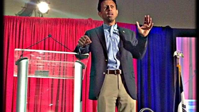 Louisiana Gov. Bobby Jindal addresses the Iowa Renewal Project in Cedar Rapids this afternoon, Aug. 8, 2014.