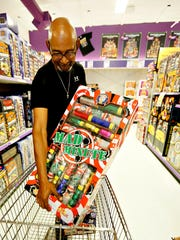 Quinton Saunders, of Camp Springs, Maryland, shops