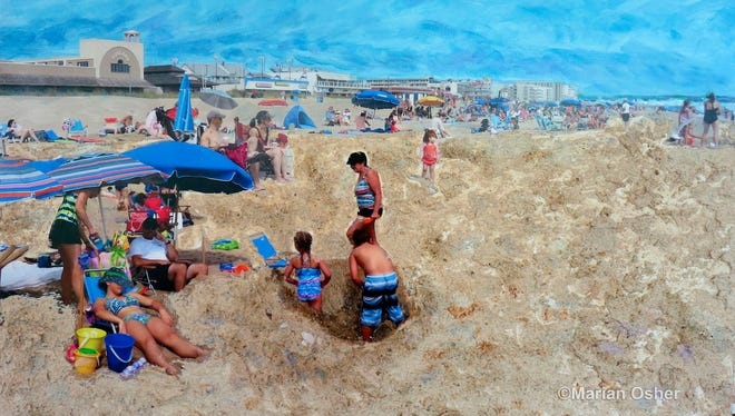 """""""Funland"""" by Marian Osher is a mixed media painting with photo collage of people on the beach near Funland at Rehoboth Beach."""