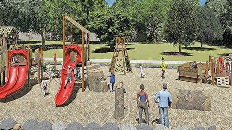 A rendering of The Lyle and Shirley Sallee Family Playground planned at Woolaroc. Cunningham Recreation/Courtesy