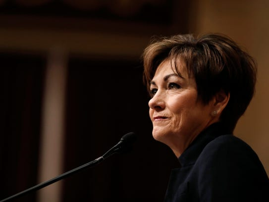 In this Jan. 9, 2018 file photo, Iowa Gov. Kim Reynolds
