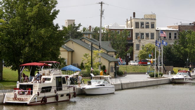 Boats dock at the Welcome Center along the Erie Canal in the village of Brockport.