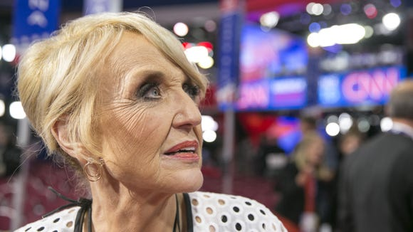 Former Arizona Gov. Jan Brewer on the house floor during the Republican National Convention at QuickenLoans Arena in Cleveland, Ohio, on July 20, 2016.