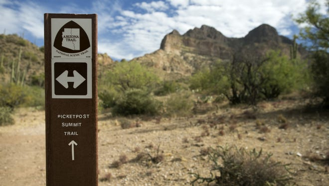 A trail marker along the Picketpost Summit Trail to the top of Picketpost Mountain in the Tonto National Forest outside of Superior on November 13, 2017.
