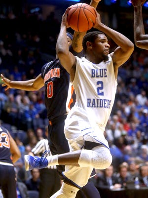 MTSU's Perrin Buford (2) and his teammates will take on Charlotte on Thursday at 6 p.m.
