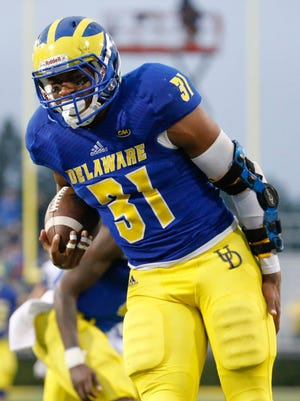 Delaware running back Wes Hills holds his leg after cramping up on the way to a 61-yard touchdown run in the fourth quarter of Maine's 28-21 win at Delaware Stadium Saturday.