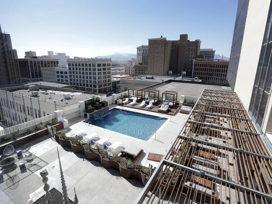 The fifth-floor outdoor pool area is a centerpiece