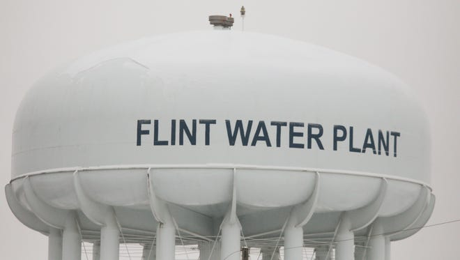 A water tower at the Flint Water Treatment Plant in 2015.