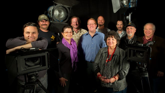 Members of the Film Las Cruces board, Ross Marks, left, Dan Williams, Lamaia Vaughn, Stephen Osborn, Jeff Steinborn, Derek Fisher, Irene Oliver-Lewis, Matt Byrnes, Scott Murray and Las Cruces City Councilor Gill Sorg are seen here at Doña Ana Community College.