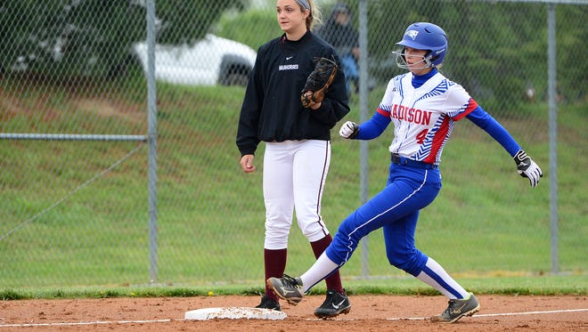 Hannah Jennings (4) and Madison are still alive in the NCHSAA 2-A softball playoffs.