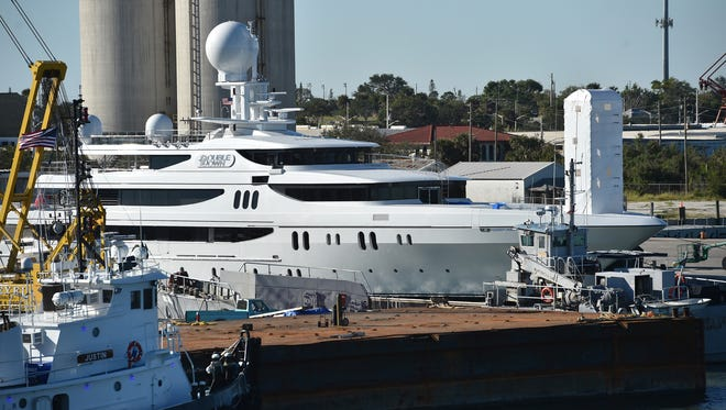 The yacht Double Down is seen on Monday, Dec. 10, 2017, docked at the Port of Fort Pierce, where work is being done on the ship's exterior.