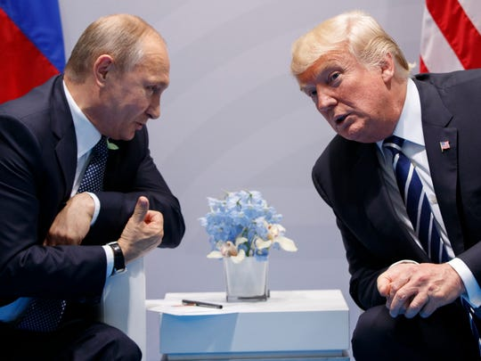 President Trump and Russian President Vladimir Putin in Hamburg on July 7, 2017.