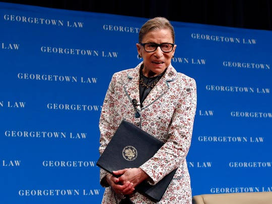 Supreme Court Justice Ruth Bader Ginsburg leaves the