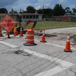 A water main break has closed an intersection north of State Road 50 in Titusville.