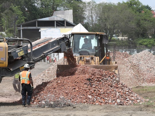 Demolition of Memorial Field photographed during a